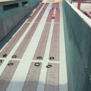 Araç giriş ve çıkış yollarının kar buz eritme ve don önleme amaçlı elektrikli yerden ısıtma uygulaması